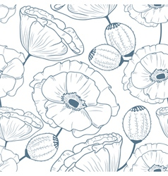 Seamless pattern with doodle poppies vector image vector image