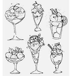 Set Ice cream - sketched isolated icecream on vector image