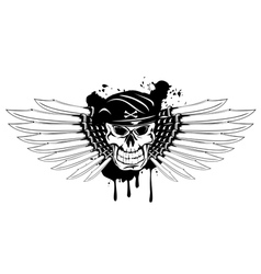 skull in beret and daggers vector image