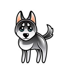Cute cartoon husky dog isolated vector image