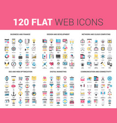 flat web icons vector image