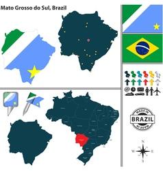 Map of Mato Grosso do Sul vector image vector image