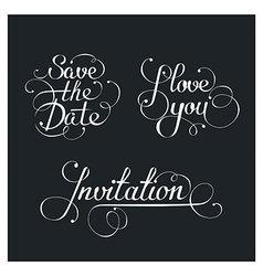 Set of wedding calligraphic lettering vector