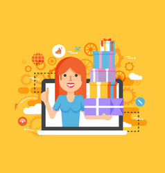 woman thumbs up in laptop vector image vector image