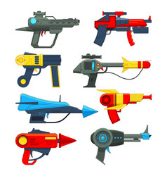 fantastic space weapons in cartoon style vector image