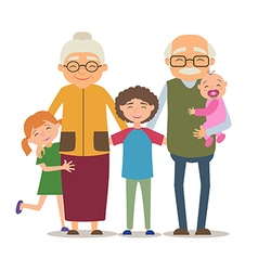 Grandparents with their grandchildren vector image vector image