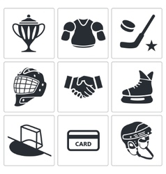 Hockey icon collection vector image vector image