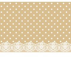 Lace and ribbon on polka dot fabric vector