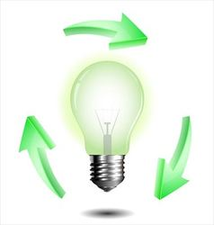 Light bulb with recycle sign vector image