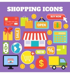Shopping decorative icons vector image vector image
