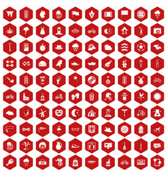 100 bicycle icons hexagon red vector