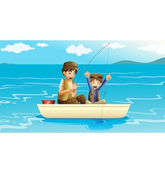 A father and a son fishing vector image