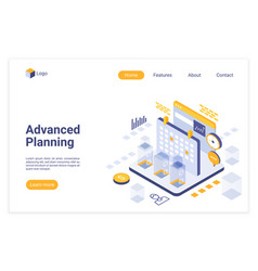 Advanced planning isometric landing page vector