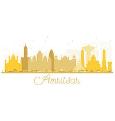 Amritsar city skyline golden silhouette vector