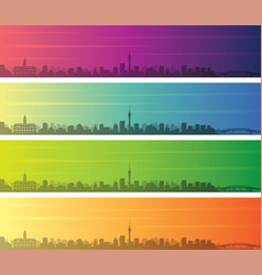 Auckland multiple color gradient skyline banner vector