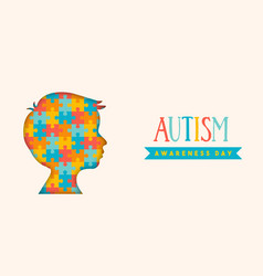autism awareness day paper cut puzzle kid banner vector image