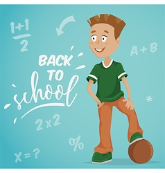Back to school schoolboy with ball vector