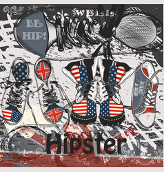 background with hand drawn sport boots with usa vector image