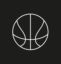 basketball ball outline in black background vector image