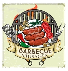 BBQ Grill label design - Sausages vector