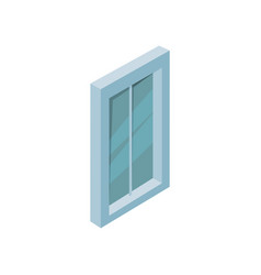 big window with blue frame and glass isometric vector image