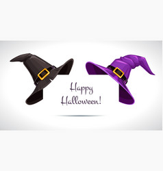 black and purple witch hat on paper corner vector image