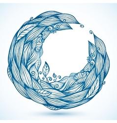 Blue hair waves doodle circle frame vector