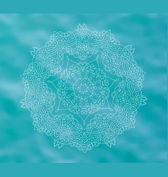 Blue water tribal background with white mandala vector