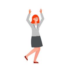 business woman jumping and cheering cartoon flat vector image