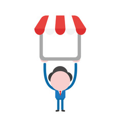 Businessman character holding up shop store with vector