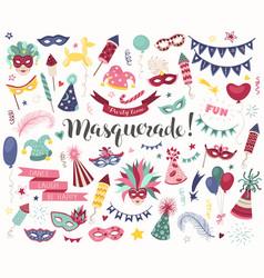 carnival doodle set vector image