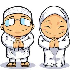 cartoon muslim man woman vector image