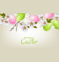 cherry blossom and easter colorful eggs vector image