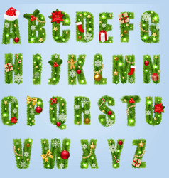Christmas alphabet with christmas toys isolated vector