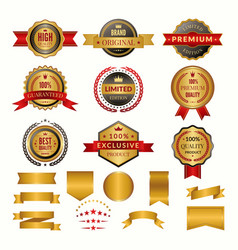 collection luxury gold badges and logos vector image