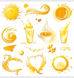Collection of orange design elements vector image vector image