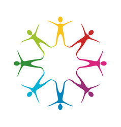color people making a star with their legs vector image