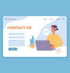 Contact us landing page website customer service vector