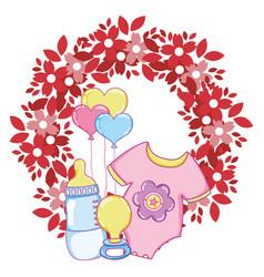 cute baby shower cartoon vector image