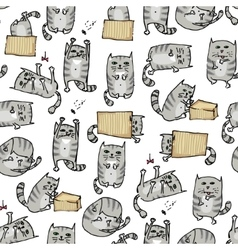 Cute kittens seamless background vector