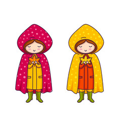 cute little girls in raincoats with polka dots vector image