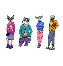Different fashion models with animal heads set vector