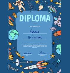 diploma or certificate for children with vector image