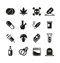 Drugs black icons set vector