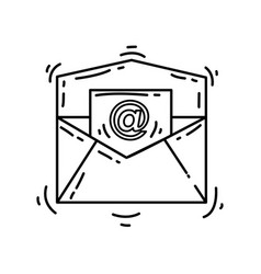 ecommerce email icon hand drawn icon set outline vector image