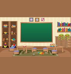 Empty classroom scene with interior decoration vector