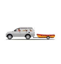 family drives boat towing car isolated on white vector image