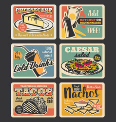 fast food restaurant retro cards design vector image