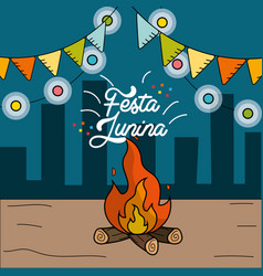 festa junina with wood fire and chain bulbs vector image vector image