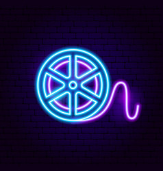 Film reel neon sign vector